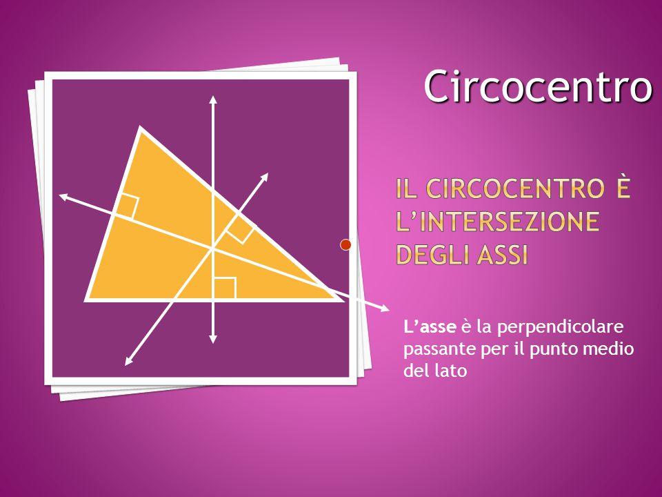 L'asse è la perpendicolare passante per il punto medio del lato Circocentro