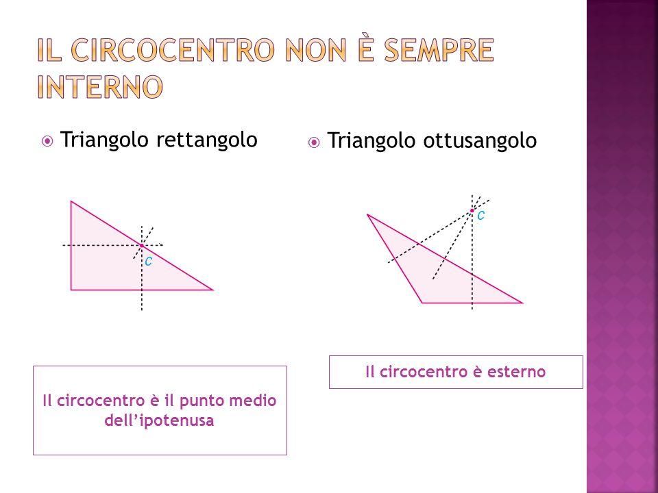 Il circocentro è il punto medio dell'ipotenusa Il circocentro è esterno  Triangolo rettangolo  Triangolo ottusangolo