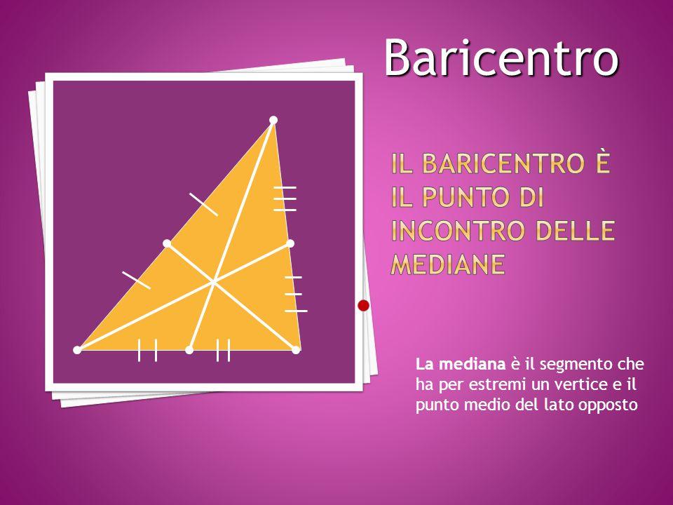 La mediana è il segmento che ha per estremi un vertice e il punto medio del lato opposto Baricentro