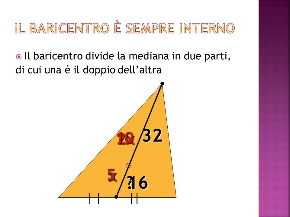 2x x 10 5 32 ? 16  Il baricentro divide la mediana in due parti, di cui una è il doppio dell'altra