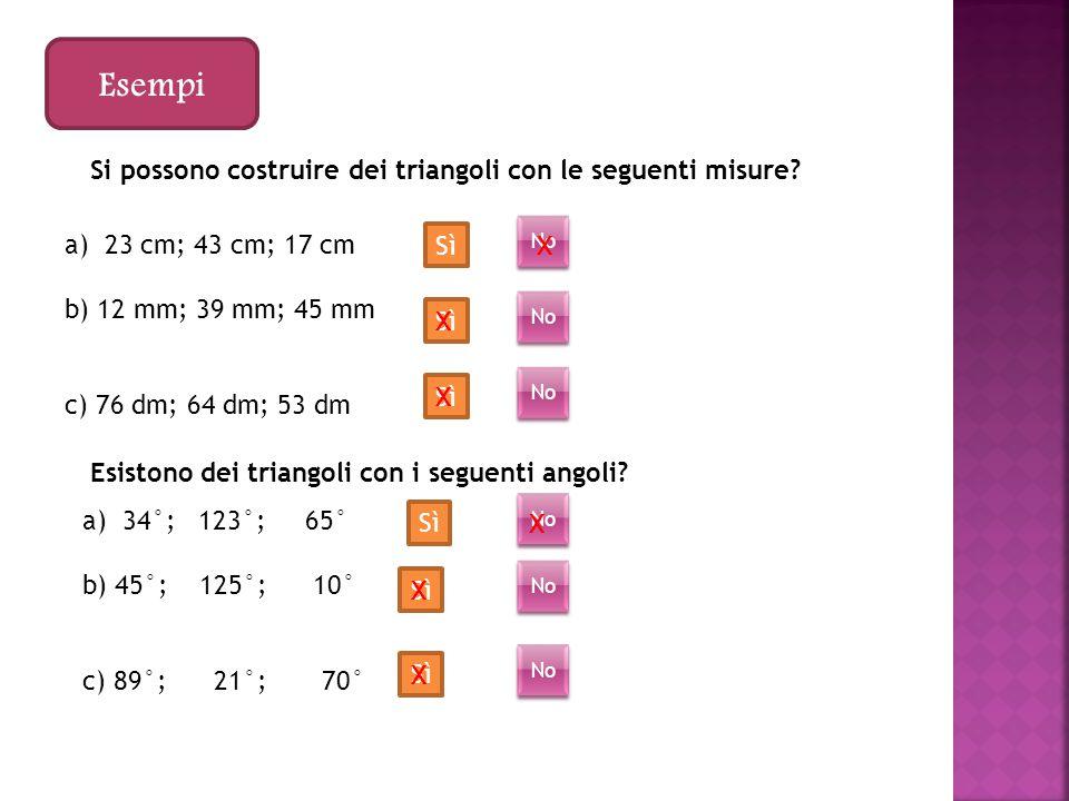 Esempi Si possono costruire dei triangoli con le seguenti misure.