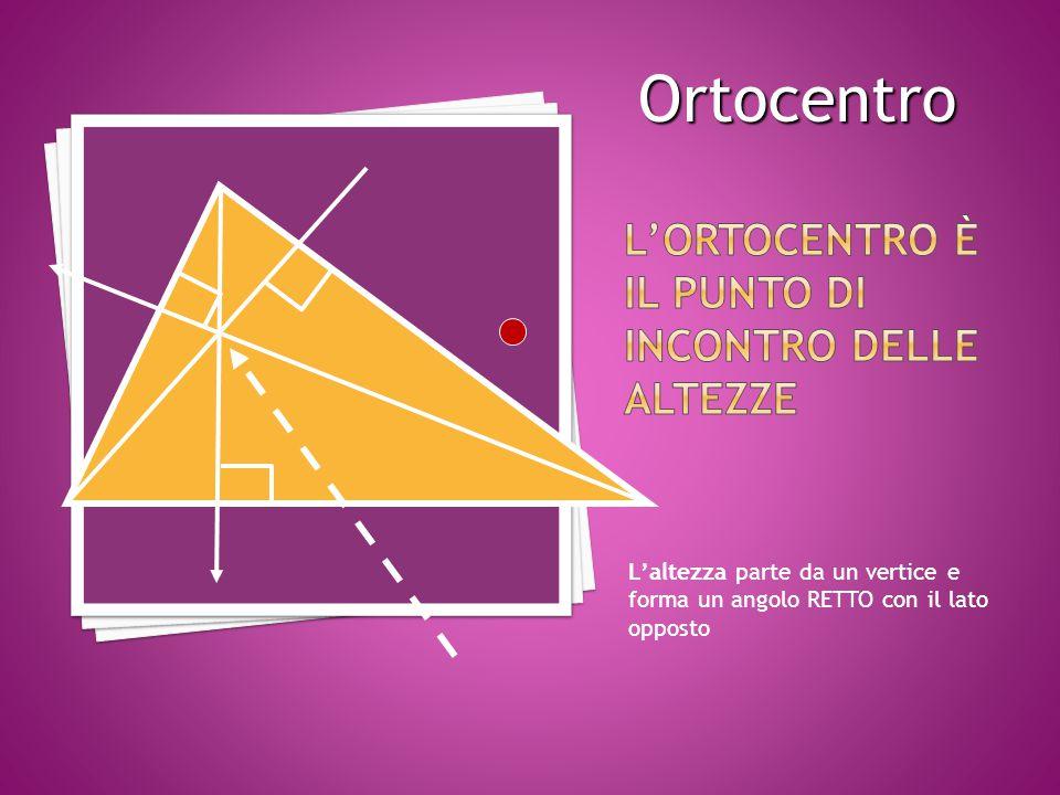 L'altezza parte da un vertice e forma un angolo RETTO con il lato opposto Ortocentro