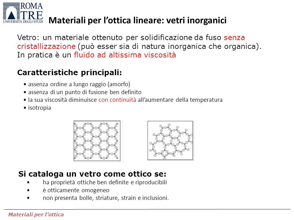 Materiali per l'ottica Materiali per l'ottica lineare: vetri inorganici Vetro: un materiale ottenuto per solidificazione da fuso senza cristallizzazio