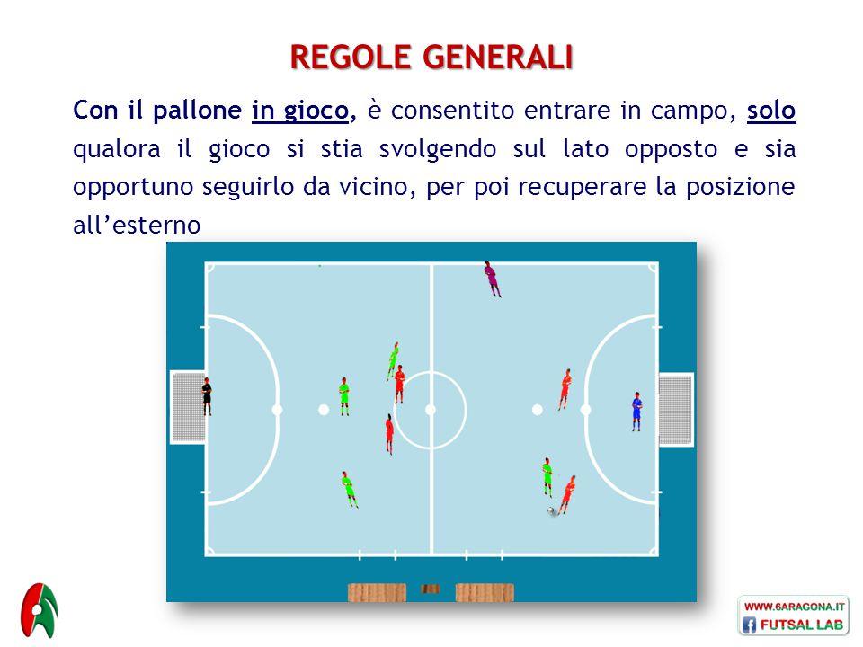 REGOLE GENERALI Con il pallone in gioco, è consentito entrare in campo, solo qualora il gioco si stia svolgendo sul lato opposto e sia opportuno segui