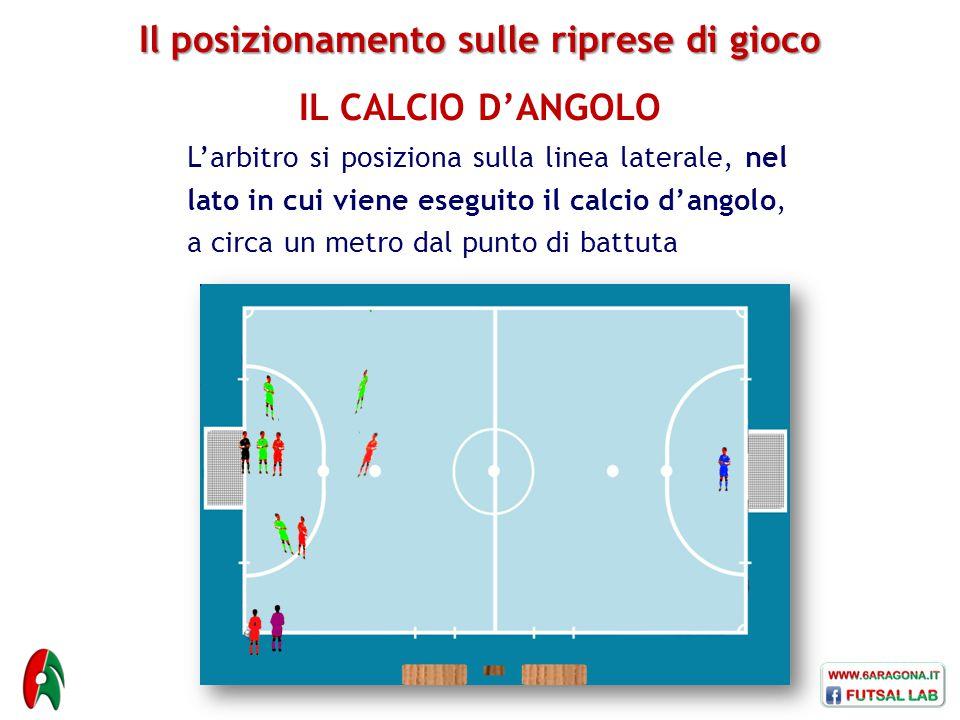 Il posizionamento sulle riprese di gioco IL CALCIO D'ANGOLO L'arbitro si posiziona sulla linea laterale, nel lato in cui viene eseguito il calcio d'angolo, a circa un metro dal punto di battuta