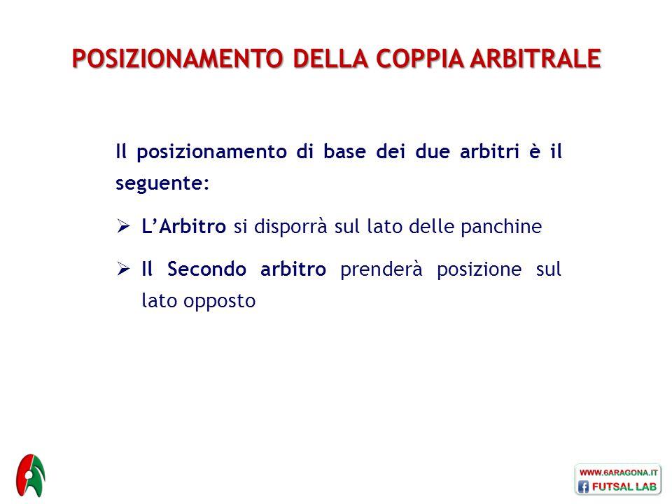POSIZIONAMENTO DELLA COPPIA ARBITRALE Il posizionamento di base dei due arbitri è il seguente:  L'Arbitro si disporrà sul lato delle panchine  Il Se