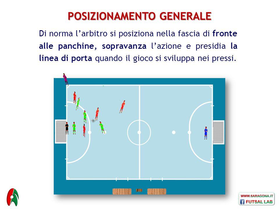 POSIZIONAMENTO GENERALE Di norma l'arbitro si posiziona nella fascia di fronte alle panchine, sopravanza l'azione e presidia la linea di porta quando