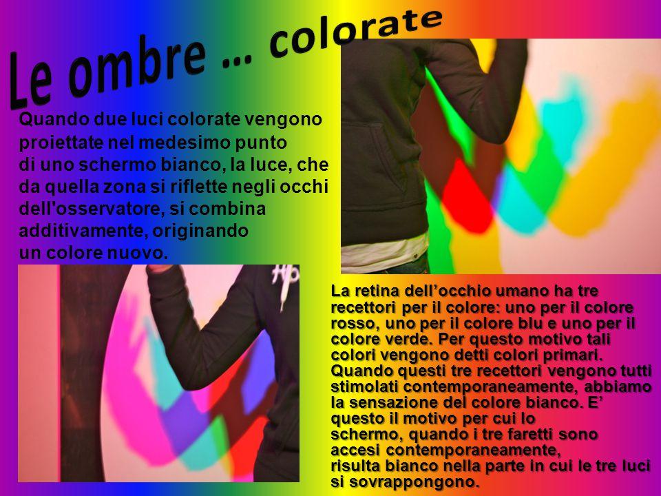 Quando due luci colorate vengono proiettate nel medesimo punto di uno schermo bianco, la luce, che da quella zona si riflette negli occhi dell'osserva