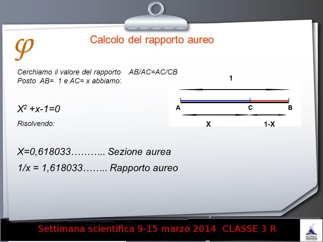 Calcolo del rapporto aureo Cerchiamo il valore del rapporto AB/AC=AC/CB Posto AB= 1 e AC= x abbiamo: X 2 +x-1=0 Risolvendo: X=0,618033……….. Sezione au
