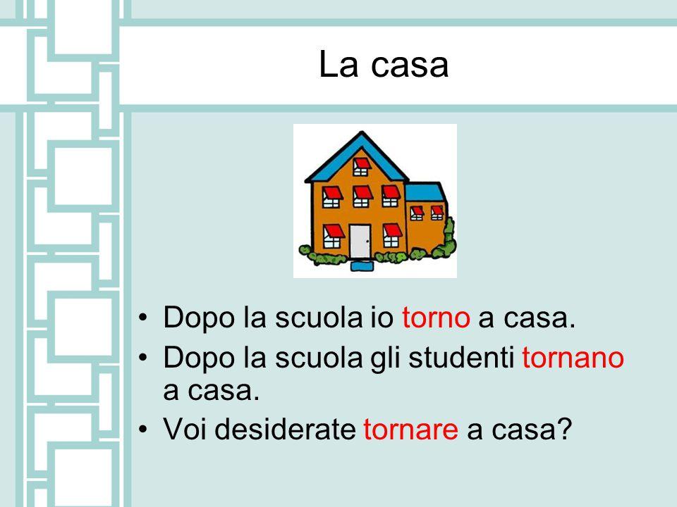 La casa Dopo la scuola io torno a casa.Dopo la scuola gli studenti tornano a casa.