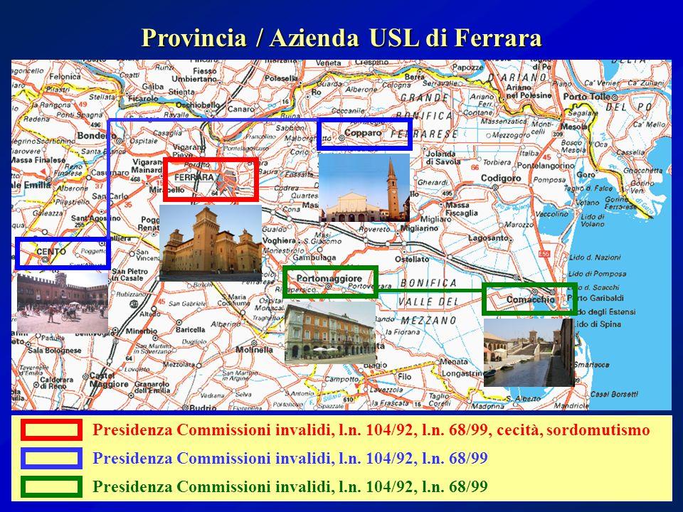 Provincia / Azienda USL di Ferrara Presidenza Commissioni invalidi, l.n. 104/92, l.n. 68/99, cecità, sordomutismo Presidenza Commissioni invalidi, l.n