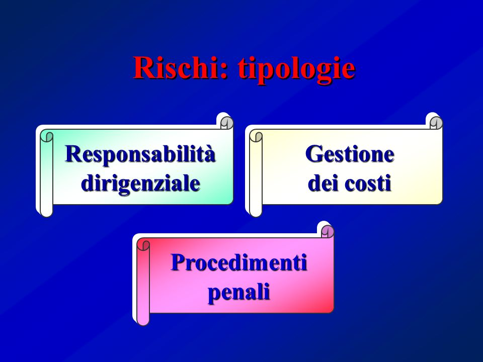 Rischi: tipologie Responsabilitàdirigenziale Procedimentipenali Gestione dei costi