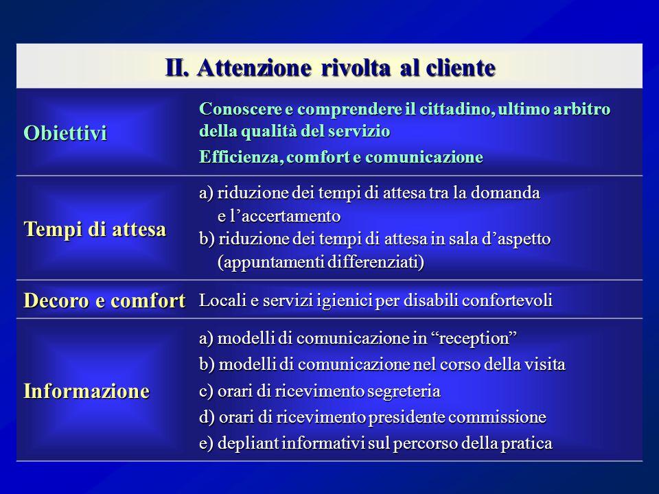 II. Attenzione rivolta al cliente Obiettivi Conoscere e comprendere il cittadino, ultimo arbitro della qualità del servizio Efficienza, comfort e comu