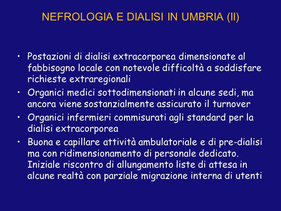 NEFROLOGIA E DIALISI IN UMBRIA (II) Postazioni di dialisi extracorporea dimensionate al fabbisogno locale con notevole difficoltà a soddisfare richies