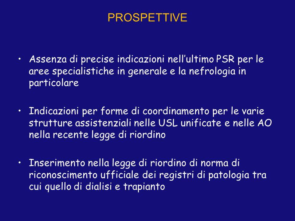 PROSPETTIVE Assenza di precise indicazioni nell'ultimo PSR per le aree specialistiche in generale e la nefrologia in particolare Indicazioni per forme