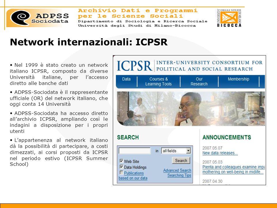 Network internazionali: ICPSR Nel 1999 è stato creato un network italiano ICPSR, composto da diverse Università italiane, per l'accesso diretto alle banche dati ADPSS-Sociodata è il rappresentante ufficiale (OR) del network italiano, che oggi conta 14 Università ADPSS-Sociodata ha accesso diretto all'archivio ICPSR, ampliando così le indagini a disposizione per i propri utenti L'appartenenza al network italiano dà la possibilità di partecipare, a costi dimezzati, ai corsi proposti da ICPSR nel periodo estivo (ICPSR Summer School)
