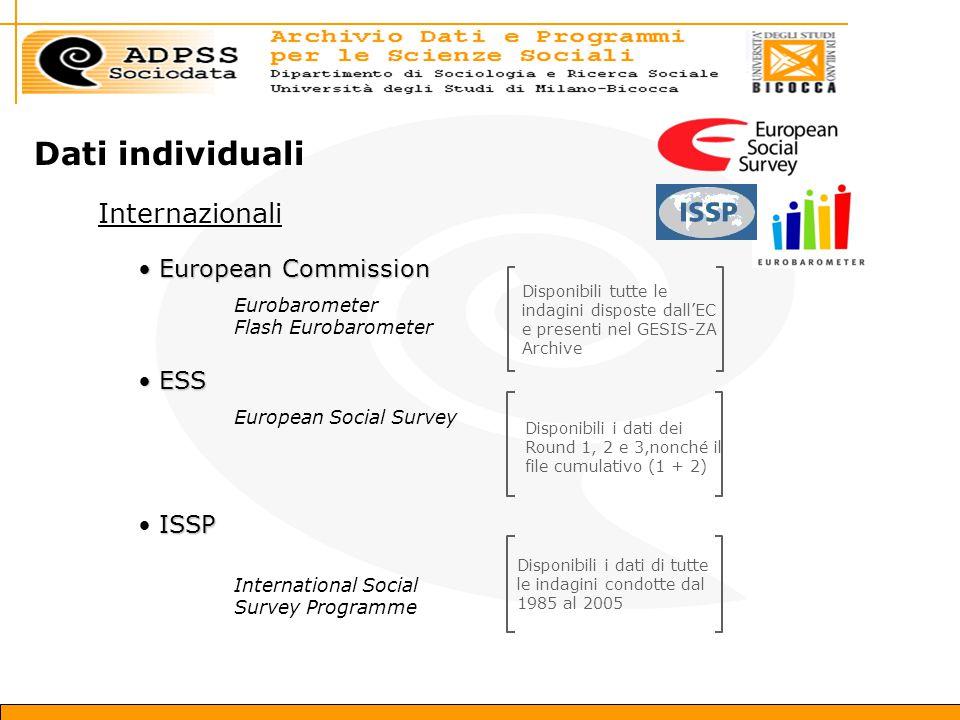 Dati individuali Internazionali European Commission European Commission Eurobarometer Flash Eurobarometer Disponibili tutte le indagini disposte dall'EC e presenti nel GESIS-ZA Archive ESS ESS European Social Survey Disponibili i dati dei Round 1, 2 e 3,nonché il file cumulativo (1 + 2) ISSP International Social Survey Programme Disponibili i dati di tutte le indagini condotte dal 1985 al 2005