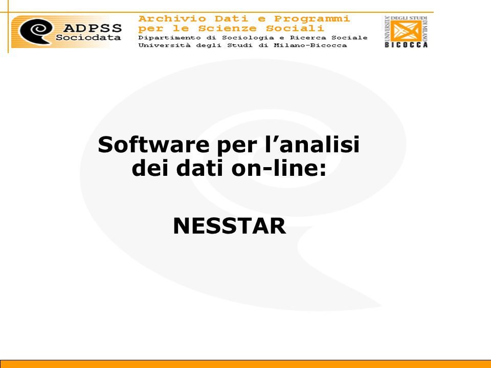 Software per l'analisi dei dati on-line: NESSTAR
