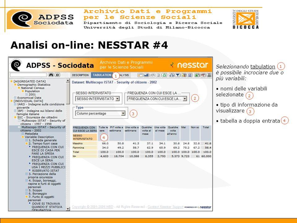 Analisi on-line: NESSTAR #4 Selezionando tabulation è possibile incrociare due o più variabili: nomi delle variabili selezionate tipo di informazione da visualizzare tabella a doppia entrata 12213344