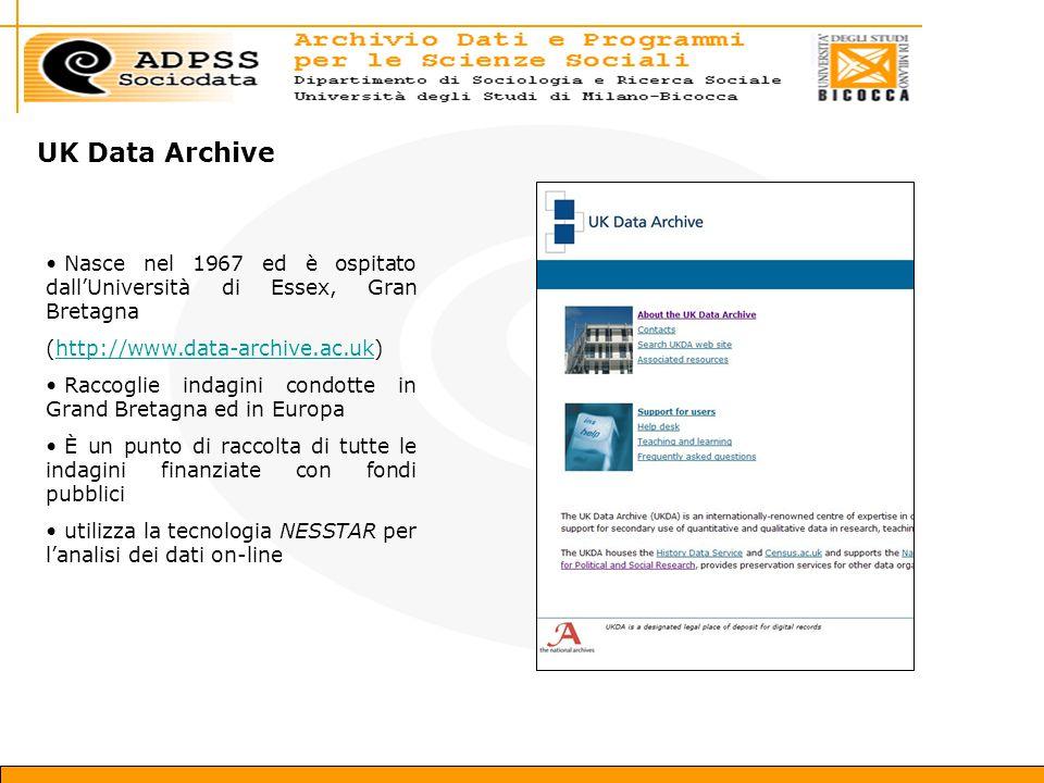 UK Data Archive Nasce nel 1967 ed è ospitato dall'Università di Essex, Gran Bretagna (http://www.data-archive.ac.uk)http://www.data-archive.ac.uk Raccoglie indagini condotte in Grand Bretagna ed in Europa È un punto di raccolta di tutte le indagini finanziate con fondi pubblici utilizza la tecnologia NESSTAR per l'analisi dei dati on-line