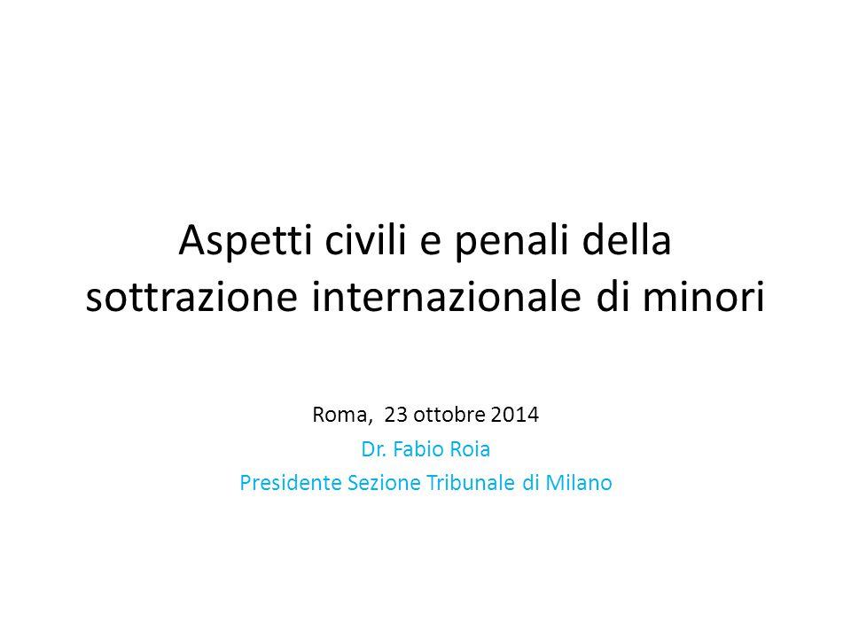 Aspetti civili e penali della sottrazione internazionale di minori Roma, 23 ottobre 2014 Dr.