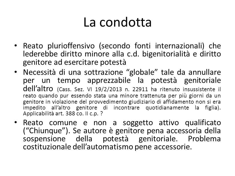 La condotta Reato plurioffensivo (secondo fonti internazionali) che lederebbe diritto minore alla c.d.