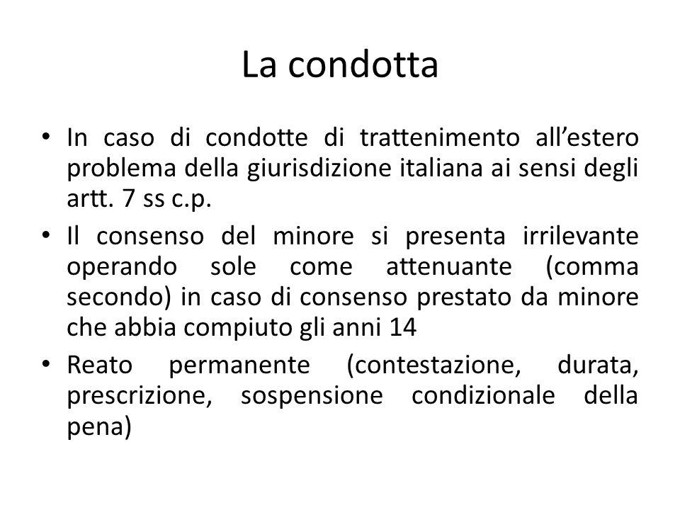 La condotta In caso di condotte di trattenimento all'estero problema della giurisdizione italiana ai sensi degli artt.
