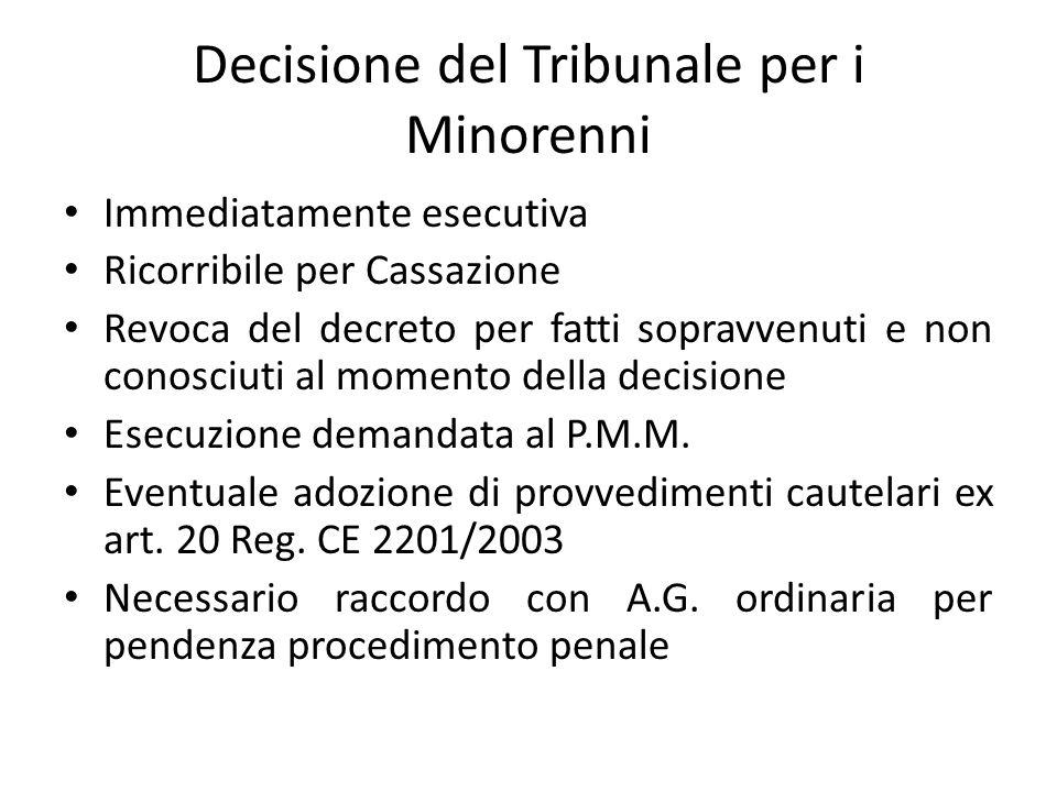 Decisione del Tribunale per i Minorenni Immediatamente esecutiva Ricorribile per Cassazione Revoca del decreto per fatti sopravvenuti e non conosciuti al momento della decisione Esecuzione demandata al P.M.M.