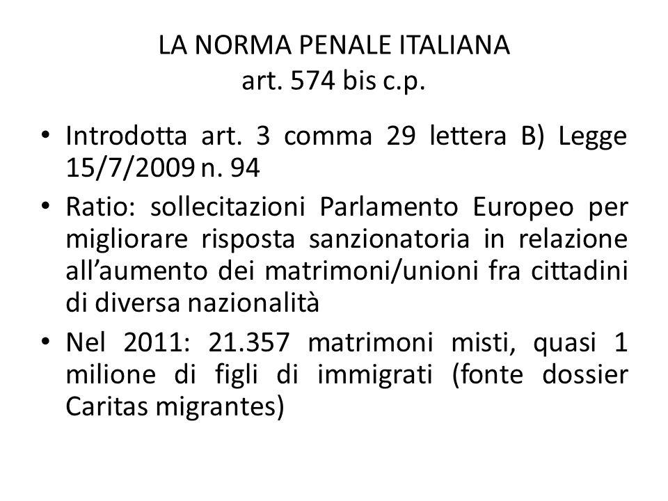 LA NORMA PENALE ITALIANA art.574 bis c.p. Introdotta art.