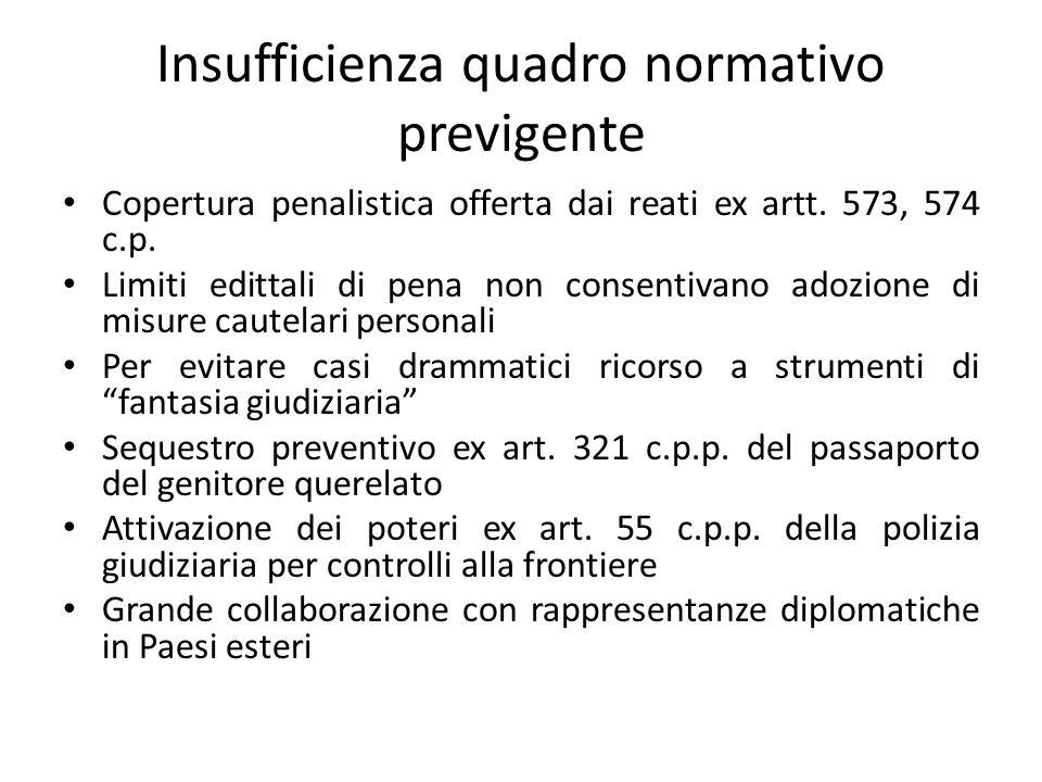Insufficienza quadro normativo previgente Copertura penalistica offerta dai reati ex artt.