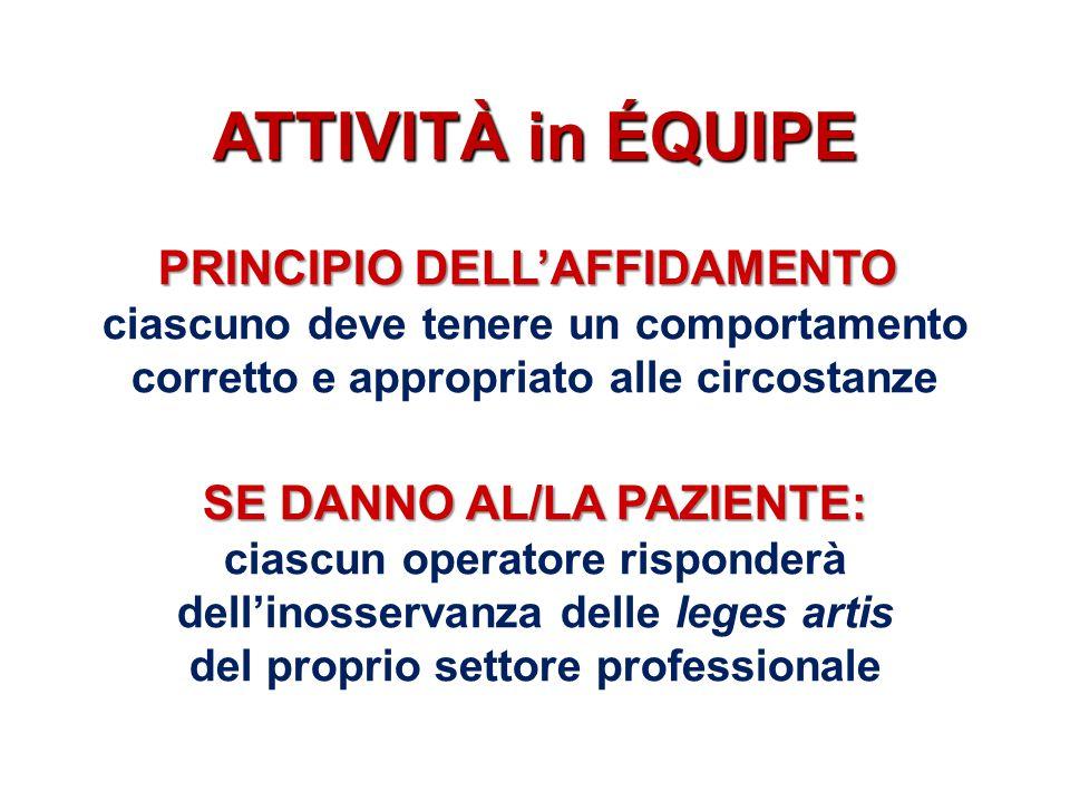 ATTIVITÀ in ÉQUIPE PRINCIPIO DELL'AFFIDAMENTO PRINCIPIO DELL'AFFIDAMENTO: ciascuno deve tenere un comportamento corretto e appropriato alle circostanz