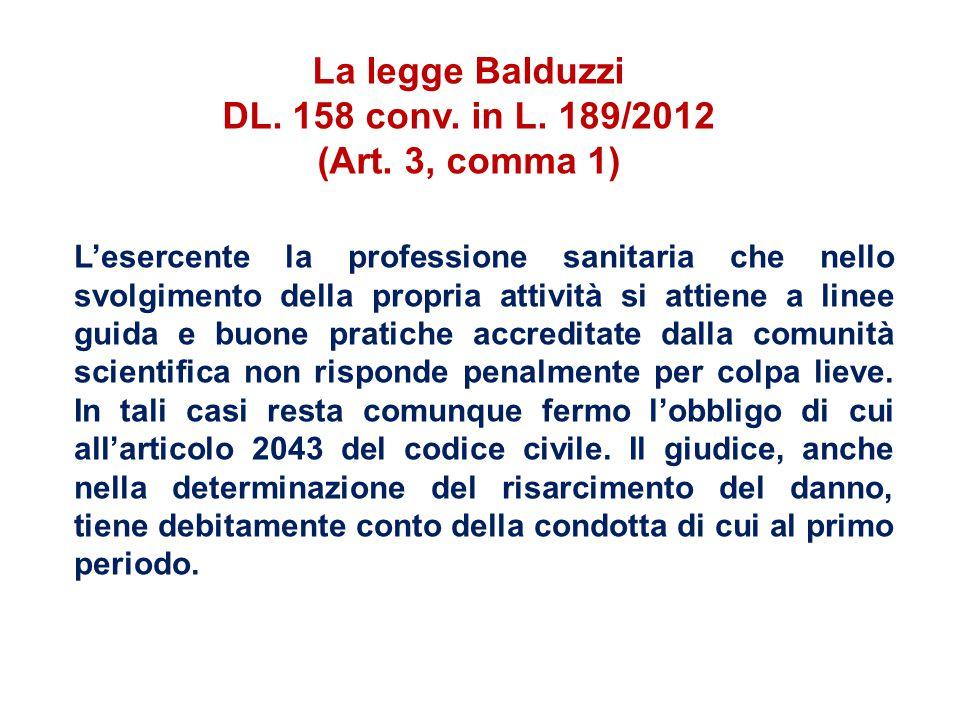 La legge Balduzzi DL. 158 conv. in L. 189/2012 (Art. 3, comma 1) L'esercente la professione sanitaria che nello svolgimento della propria attività si