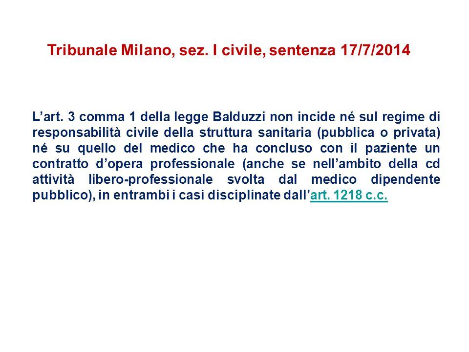 L'art. 3 comma 1 della legge Balduzzi non incide né sul regime di responsabilità civile della struttura sanitaria (pubblica o privata) né su quello de