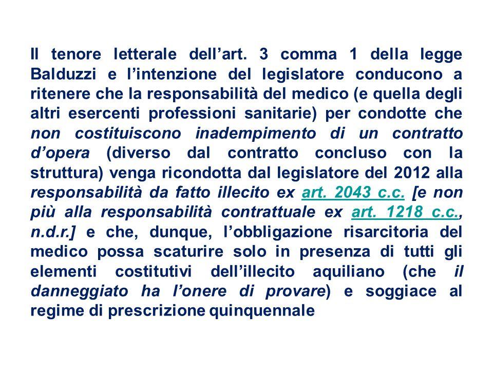Il tenore letterale dell'art. 3 comma 1 della legge Balduzzi e l'intenzione del legislatore conducono a ritenere che la responsabilità del medico (e q