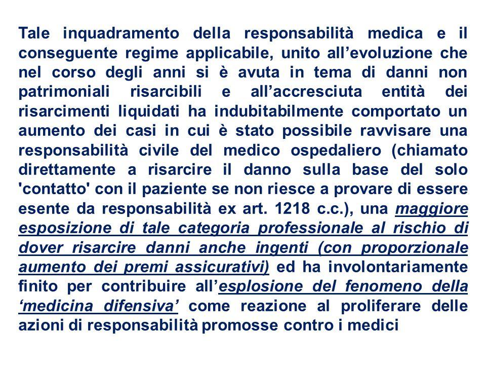 Tale inquadramento della responsabilità medica e il conseguente regime applicabile, unito all'evoluzione che nel corso degli anni si è avuta in tema d