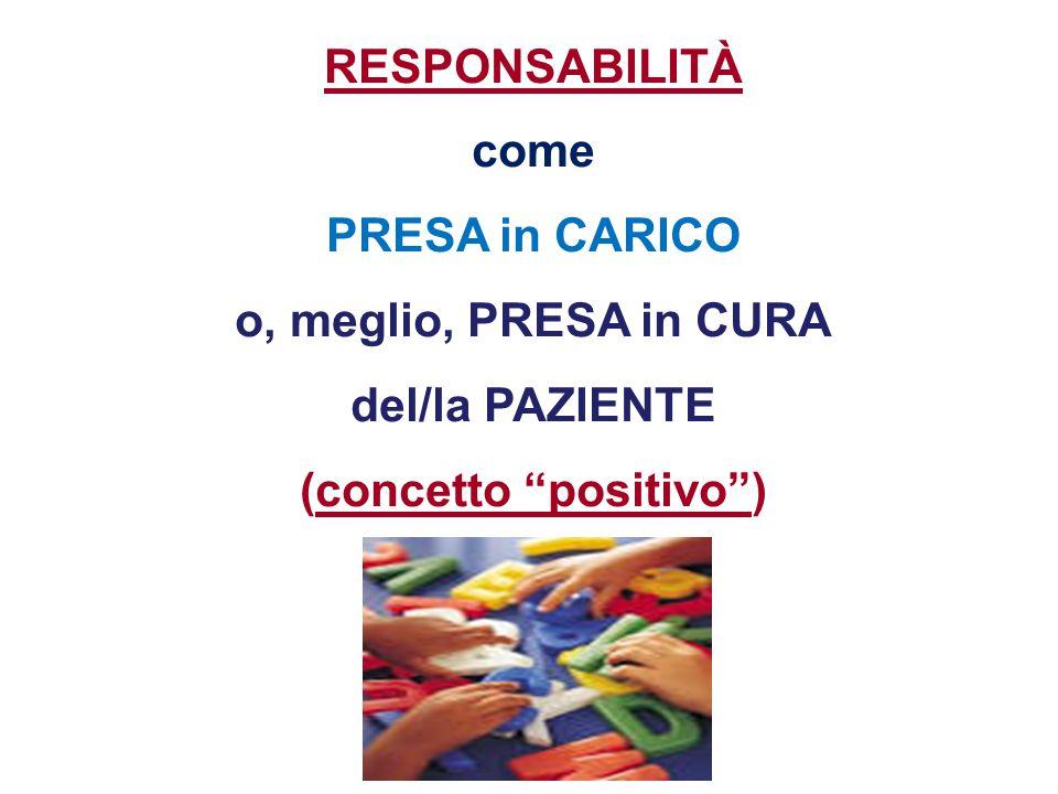 """RESPONSABILITÀ come PRESA in CARICO o, meglio, PRESA in CURA del/la PAZIENTE (concetto """"positivo"""")"""