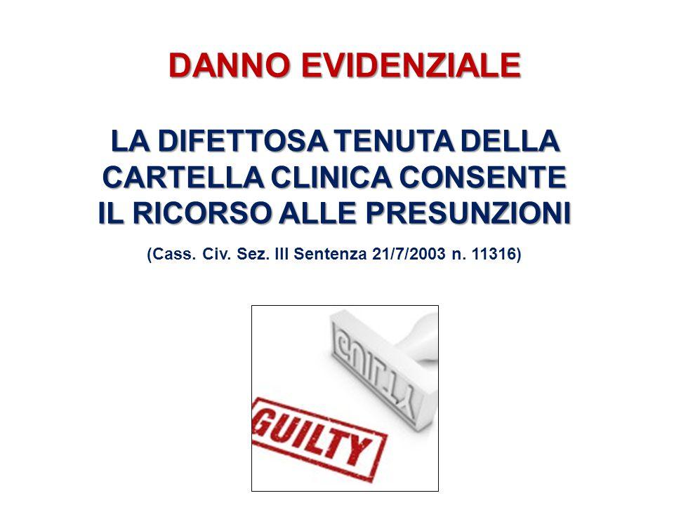 DANNO EVIDENZIALE LA DIFETTOSA TENUTA DELLA CARTELLA CLINICA CONSENTE IL RICORSO ALLE PRESUNZIONI (Cass. Civ. Sez. III Sentenza 21/7/2003 n. 11316)