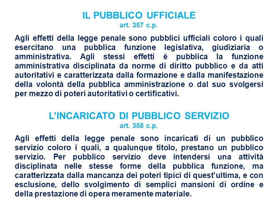 IL PUBBLICO UFFICIALE art. 357 c.p. Agli effetti della legge penale sono pubblici ufficiali coloro i quali esercitano una pubblica funzione legislativ
