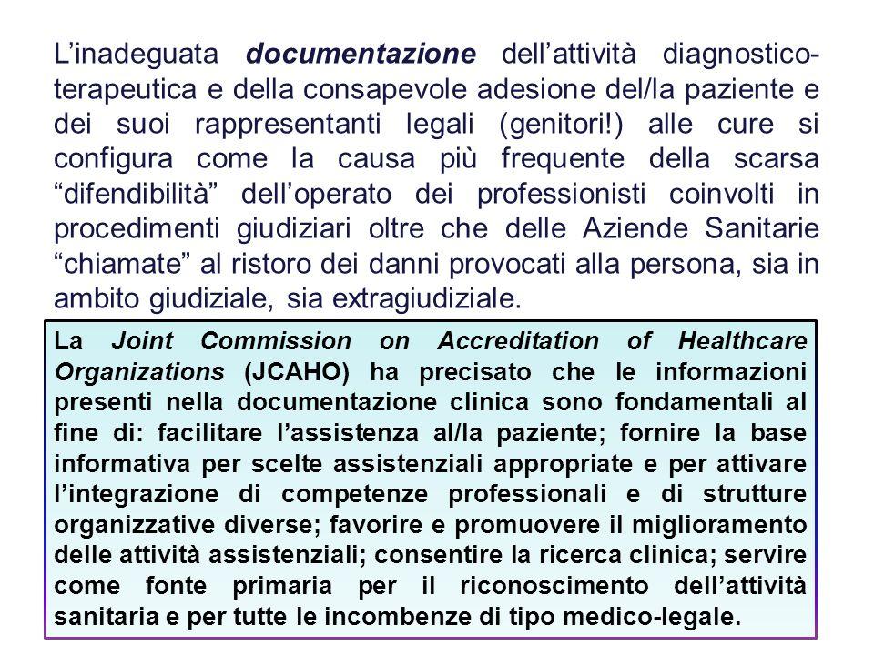 L'inadeguata documentazione dell'attività diagnostico- terapeutica e della consapevole adesione del/la paziente e dei suoi rappresentanti legali (geni