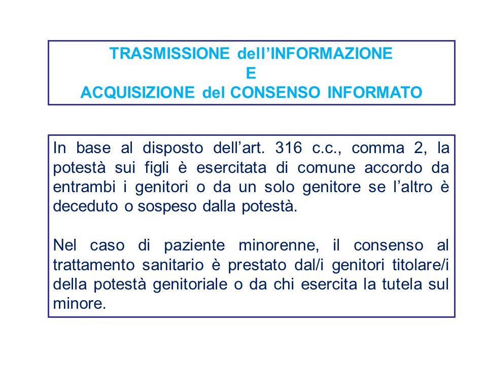 TRASMISSIONE dell'INFORMAZIONE E ACQUISIZIONE del CONSENSO INFORMATO In base al disposto dell'art. 316 c.c., comma 2, la potestà sui figli è esercitat