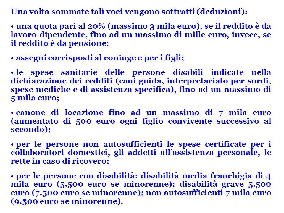 Una volta sommate tali voci vengono sottratti (deduzioni): una quota pari al 20% (massimo 3 mila euro), se il reddito è da lavoro dipendente, fino ad