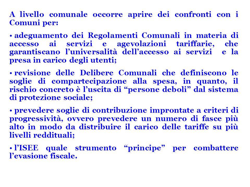 A livello comunale occorre aprire dei confronti con i Comuni per: adeguamento dei Regolamenti Comunali in materia di accesso ai servizi e agevolazioni