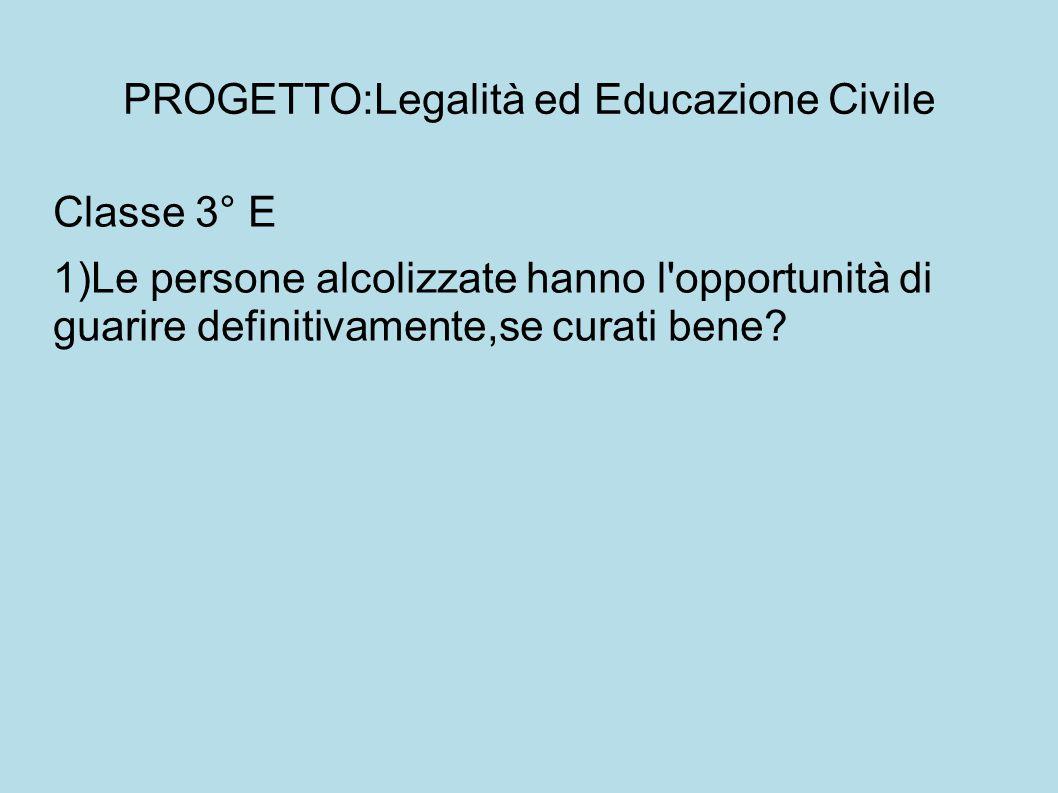 PROGETTO:Legalità ed Educazione Civile Classe 3° E 1)Le persone alcolizzate hanno l opportunità di guarire definitivamente,se curati bene