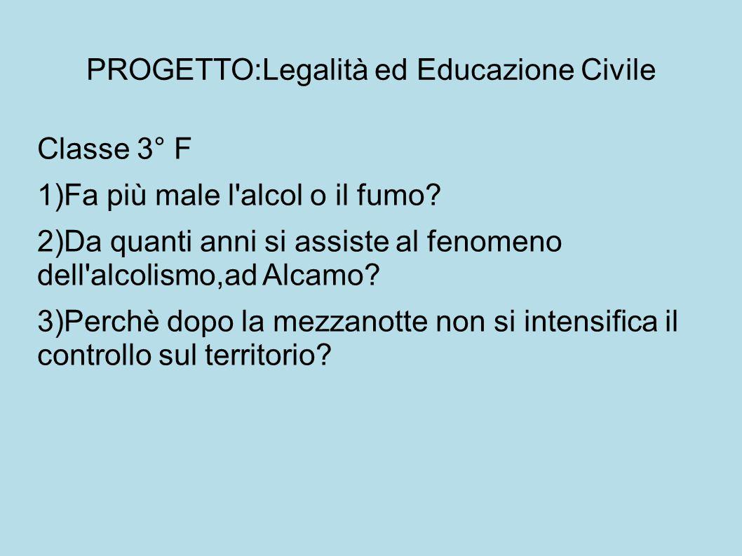 PROGETTO:Legalità ed Educazione Civile Classe 3° F 1)Fa più male l'alcol o il fumo? 2)Da quanti anni si assiste al fenomeno dell'alcolismo,ad Alcamo?