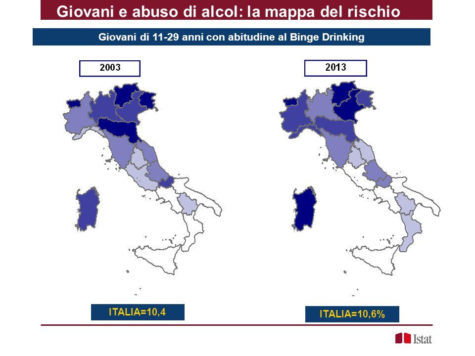 Giovani di 11-29 anni con abitudine al Binge Drinking Giovani e abuso di alcol: la mappa del rischio ITALIA=10,4 ITALIA=10,6%