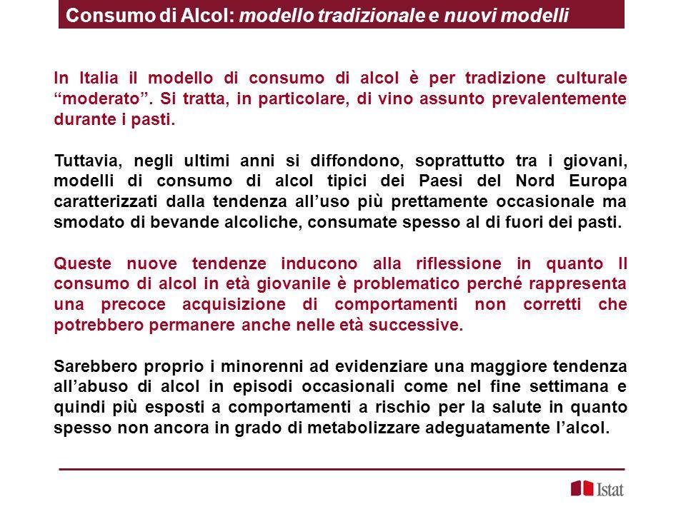 """In Italia il modello di consumo di alcol è per tradizione culturale """"moderato"""". Si tratta, in particolare, di vino assunto prevalentemente durante i p"""
