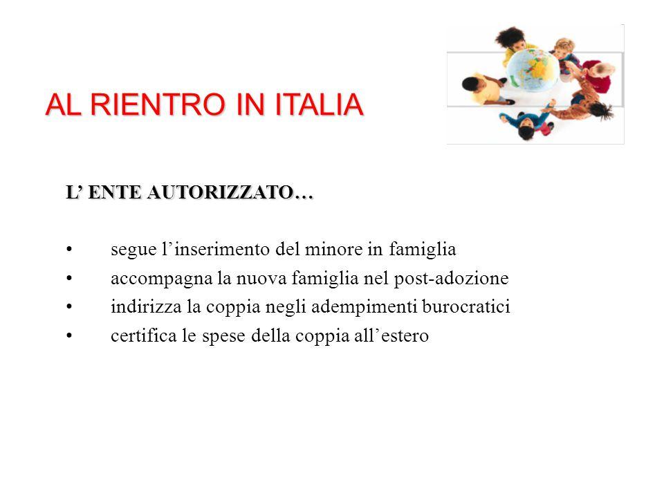 AL RIENTRO IN ITALIA L' ENTE AUTORIZZATO… segue l'inserimento del minore in famiglia accompagna la nuova famiglia nel post-adozione indirizza la coppi