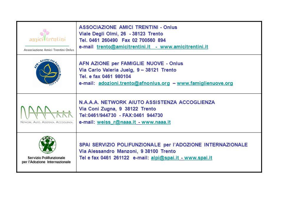 : ASSOCIAZIONE AMICI TRENTINI - Onlus Viale Degli Olmi, 26 - 38123 Trento Tel. 0461 260490 Fax 02 700560 894 e-mail trento@amicitrentini.it - www.amic