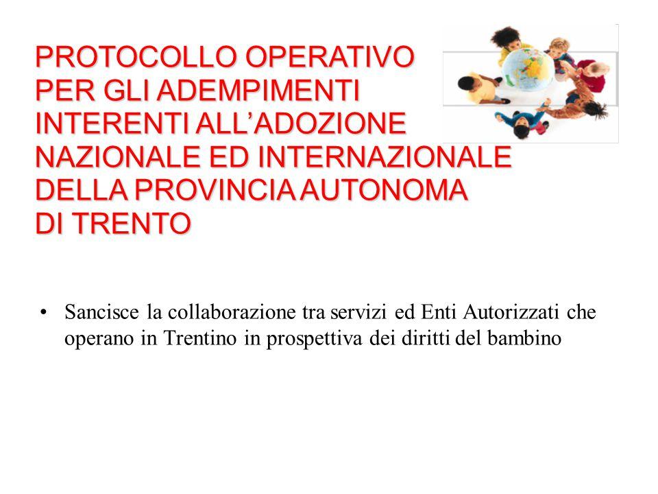 Sancisce la collaborazione tra servizi ed Enti Autorizzati che operano in Trentino in prospettiva dei diritti del bambino PROTOCOLLO OPERATIVO PER GLI
