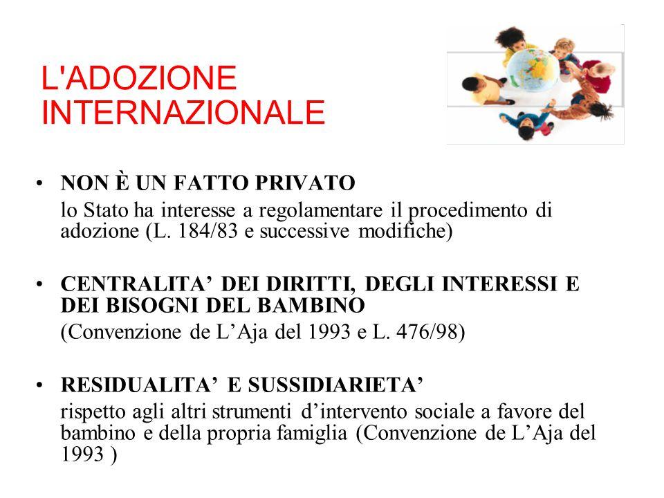 L'ADOZIONE INTERNAZIONALE NON È UN FATTO PRIVATO lo Stato ha interesse a regolamentare il procedimento di adozione (L. 184/83 e successive modifiche)